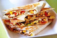 Chicken quesadillas with avocado cream. These are amazing! The cream is great with nachos too.