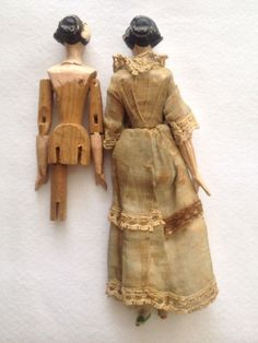 Antique Doll Peg Wooden Jointed Tuck Comb Original Clothes 1800's Hand Carved   eBay
