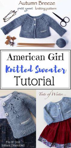 PDF Knitting Pattern, Sweater Knitting Tutorial, DIY, Waldorf Doll Clothing Pattern, 2 Styles  #knittingpattern #americangirl  #affiliate #dollclothes