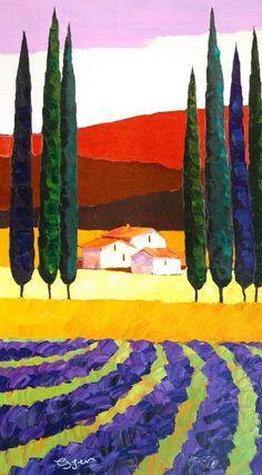 Medium: Giclee Size (H x W): 19 x Edition: 99 Item Landscape Quilts, Landscape Art, Landscape Paintings, Landscapes, Tuscan Art, Naive Art, Small Art, Whimsical Art, New Art