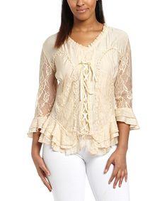 Caramel Lace-Up Silk-Blend V-Neck Top #zulily #zulilyfinds