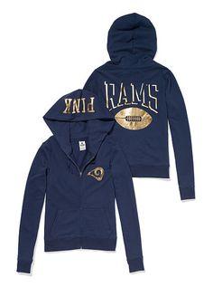 St. Louis Rams Zip Hoodie PINK. Super cute. I love Pink NFL gear! #affiliate