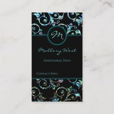 Get customizable Blue business cards or make your own from scratch! ✅ Premium cards printed on a variety of high quality paper types. Business Card Design, Business Cards, Things To Come, Monogram, Turquoise, Pearls, Create, Floral, Prints