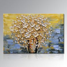 Seekland Art Hand Painted Modern Textured Flower Oil Painting on Canvas Abstract Paintings Canvas Wall Art Realism Painting for Living Room Bedroom Office Unframed 36W x 24H *** Click image to review more details.