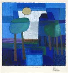 Stad vol licht, Ton Schulten - Zeefdruk – Kunst.nl Landscape Paintings, Watercolor Landscape, Pin Art, Blue Art, Art Plastique, Teaching Art, Contemporary Paintings, Painting Inspiration, Altered Art