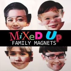 Mixed Up Family Magnets from Spoonful.com // A great way to infuse some laughter onto your fridge!  You could even just do your boy's face with different emotions or silly expressions!