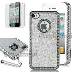 Pandamimi NEWEST 2nd Generation Sliver Chrome Glitter Bling Crystal Rhinestone Hard Case Cover for Apple ATT Sprint Verizon iPhone 4 4S 4G With Front and Back Screen Protective Film and Sliver Stylus