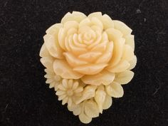 Vintage Faux Coral Pale Pink Carved Celluloid Rose Flower Brooch with C Clasp