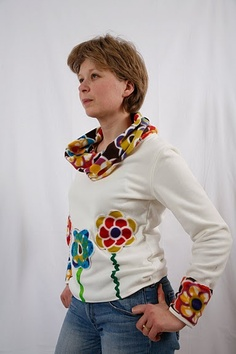 I like the cowl neckline & cuffs added to this pullover