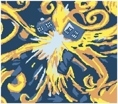 Crochet Doctor Who exploding Tardis graphghan Cross Stitching, Cross Stitch Embroidery, Cross Stitch Patterns, Crochet Chart, Crochet Patterns, Knitting Projects, Crochet Projects, Doctor Who Crochet, Doctor Who Craft