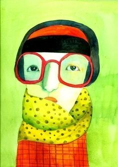 green portrait  print by behappynow on Etsy,