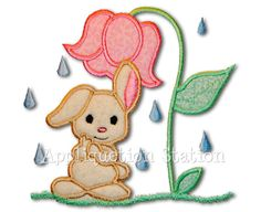 Baby Bunny Shower Applique Machine Embroidery Design Download Rainy Day Flower Umbrella Easter