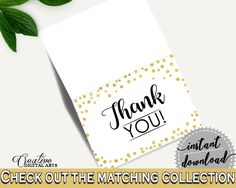 Thank You Card Bridal Shower Thank You Card Confetti Bridal Shower Thank You Card Bridal Shower Confetti Thank You Card Gold White CZXE5 - Digital Product #bride #bridal