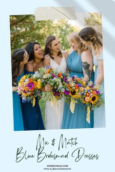 Don't be afraid to let your creative side shine with Kennedy Blue's bridesmaid dresses! Available in 100+ styles, 50+ colors, sizes 00-32, and easy to mix & match with other styles. // blue bridesmaid dress // unique chiffon bridesmaid dress // chiffon blue dress // garden wedding // blue wedding // mix and match bridal party // mismatched bridesmaid dresses