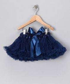 This Blue & Navy Bow Pettiskirt - Infant, Toddler & Girls by Twirls & Curls is perfect! #zulilyfinds
