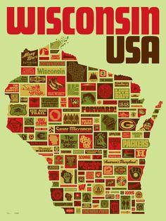Wisconsin poster by Draplin Design Co. Draplin Design, Milwaukee Wisconsin, Historical Sites, Green Bay, Travel Posters, Screen Printing, My Love, Festival Logo, Film Festival