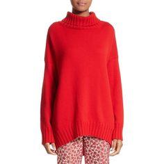 Women's Oscar De La Renta Virgin Wool Turtleneck Sweater ($1,290) ❤ liked on Polyvore featuring tops, sweaters, carmine, cocoon sweater, polo neck sweater, turtleneck sweater, oscar de la renta sweater and red turtleneck