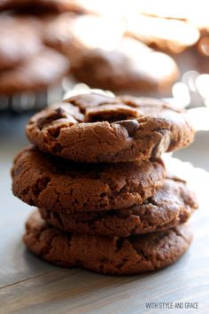 Flourless Chocolate Peanut Butter Cookies  1 cup chocolate peanut butter [or regular or chunky or 1/2 and 1/2]  1 cup light brown sugar, packed  1 large egg  1 teaspoon baking soda  1/2 teaspoon vanilla extract  1 cup semisweet chocolate chips