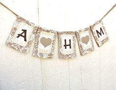 CUSTOM INITIALS Burlap and Lace Banner Garland, Twins, Triplets Baby Shower, Nursery Decor with Hearts Cupcake Nursery, Triplets Nursery, Nursery Decor, Nursery Ideas, Room Ideas, Triplet Babies, Cute Baby Shower Ideas, Guest Room Office, Burlap Lace