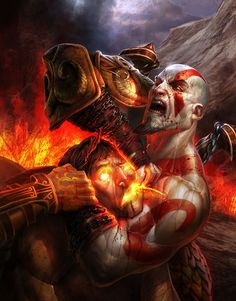 View an image titled 'Kratos & Helios Art' in our God of War III art gallery featuring official character designs, concept art, and promo pictures. Kratos God Of War, Good Of War, God Of War Series, Concept Art World, Video Game Art, Dark Fantasy, Minions, Mythology, Character Art