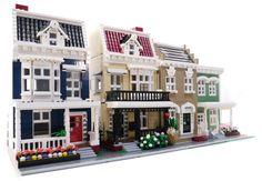 Lego City Residential Modular Houses MOC by Brian Lego Modular, Lego Architecture, Classic Architecture, Legos, Lego Christmas Village, Lego Watch, Lego Display, Lego Boards, Lego System