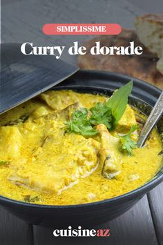 La recette de ce curry de dorade permet d'obtenir un délicieux plat coloré. #recette#cuisine#curry#dorade Ethnic Recipes, Link, Food, Dish, Roast, Cooking, Cod Fish, Curry Recipes, Coconut Milk
