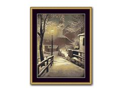 Winter Landscape Counted Cross Stitch Pattern / Chart, Village by Lamplight,  Instant Digital Download (AP027) Counted Cross Stitch Patterns, Cross Stitch Designs, Dmc Floss, Winter Landscape, Digital Pattern, White Patterns, Colours, Black And White, Strands