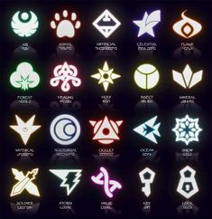 Potential symbols for a fantasy card game I conceptualized in middle school. The Caper Of Knaio: Symbols (March 2014 Update) Magic Symbols, Ancient Symbols, Cool Symbols, Magia Elemental, Character Art, Character Design, Types Of Magic, Elemental Powers, Element Symbols