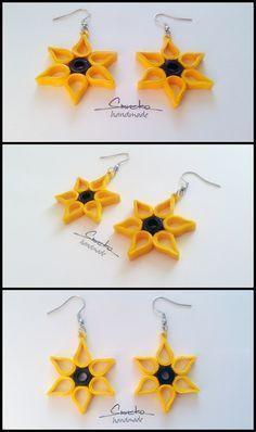 Paper quilling dangle earrings