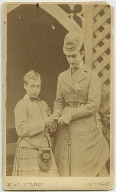 """""""Posing with Mama"""".    Prince George, later King George V,  with his mother, the Princess of Wales"""