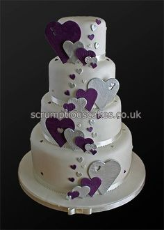 purple and silver hearts #wedding #cake by scrumptiouscakes.co.uk