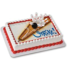 Bowling DecoSet Cake Decoration: Create a fun cake for your bowler with the Bowling Decoset birthday cake decoration. This DecoSet includes 10 bowling pins and a bowling ball that can be arranged as you'd like – after the strike or mid-bowl. Bowling Birthday Cakes, Bowling Party Favors, Bowling Party Invitations, Birthday Diy, Boy Birthday Parties, Birthday Party Invitations, Cake Birthday, Fourth Birthday, Happy Birthday