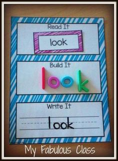 Read, Write, Build- Pre-Primer and Primer sight words. Perfect for Guided Reading and Word Work centers. by Lauren Moutia