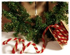 Peppermint stripe chenille garland