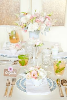 Wedding Concept: Spring Elegance. Love this tablescape. The mix of pink, blue, chartreuse, white and silver makes me absolutely giddy.