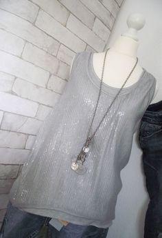 NEU **ESViViD* Top Bluse PAILLETTEN Shirt ITALY grau onesize 36 38 40