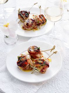 Bacon-Wrapped Scallops with Lemon-Herb Dressing  - Redbook.com