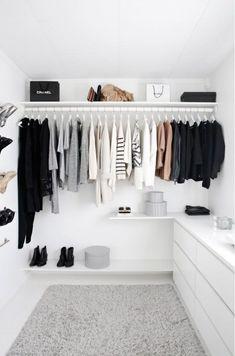 Modern Minimalist Bedroom Decor Ideas You Must See # The . Modern Minimalist Bedroom, Minimalist Closet, Minimalist Home Decor, Closet Bedroom, Bedroom Decor, Dresser In Closet, Ikea Malm Dresser, Decor Room, Room Decorations