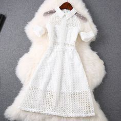 New 2015 spring ⊰ summer women luxury fashion white lace hollow ⑥ out dress short sleeve beading brand cute mini casual dresses New 2015 spring summer women luxury fashion white lace hollow out dress short sleeve beading brand cute mini casual dresses Style Outfits, Mode Outfits, Cute Casual Outfits, Pretty Outfits, Pretty Dresses, Beautiful Dresses, Dress Outfits, Stylish Dresses, Casual Dresses