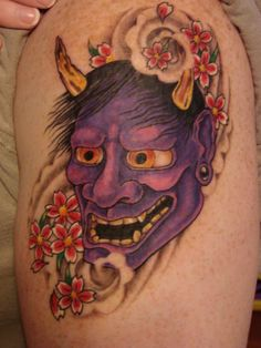 Japanese Hannya Mask Tattoo With Vherry Blossom Design Pierced On Arm Japanese Hannya Mask, Japanese Mask Tattoo, Japanese Tattoo Symbols, Japanese Tattoo Designs, Oni Tattoo, Hannya Maske Tattoo, Samurai, 3d Tattoos, Crow Tattoos