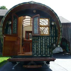 This caravan was built in Port Townsend, WA in by master woodworker, Jim Tolpin. The undercarriage was custom-welded of steel channel by a local trailer shop, and fitted with standard. Gypsy Caravan, Gypsy Wagon, Hobbit, Steel Channel, Tiny House Swoon, Cool Campers, Tiny House Listings, Tiny Houses For Sale, Small Houses