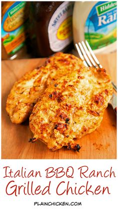 Let the c… Italian BBQ Ranch Grilled Chicken Recipe – simply 4 ingredient recipe! Grilled Chicken Recipes, Grilled Meat, Good Chicken Recipes, Barbeque Chicken Recipes, Italian Marinated Chicken, Grilled Chicken Sandwiches, Keto Chicken, Fried Chicken, Grilling Recipes