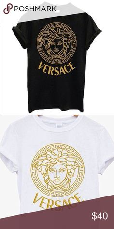 Versace medusa logo fashion Tshirt Versace medusa ladies gold logo fashion t shirt. Available in black or white t shirt, many sizes available Versace Tops Tees - Short Sleeve