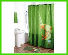 Make shower/bath time fun with this Frog Shower Curtain Frog Bathroom, Bathroom Accessories, Curtains, Shower, Hooks, Tropical, Household Products, Bath Time, Metal