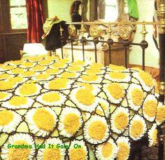 CROCHET Afghan PATTERN  Motif Cob Web Sunflower Bedspread