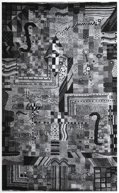 """Handknotted carpet, 1923, """"Gesellenarbeit"""". Location unknown, photograph Bauhaus-Archiv, Berlin.  The design for this carpet survived and is at the Metropolitan Museum of Art, New York"""