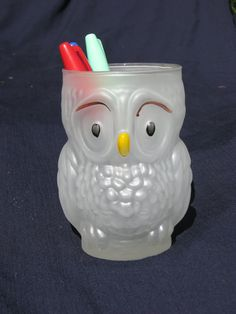 Worried Owl Glass Tumbler Pencil Holder Vase containter by SiennaB, $7.00