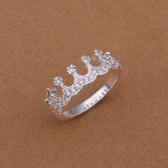 estilo caliente de plata noble de la joyería 925 mujeres de la moda anillo de la corona imperial tamaño de circón 8