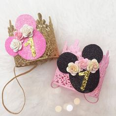 Birthday Mouse pink gold lace crown by lovecrushbowtique on Etsy