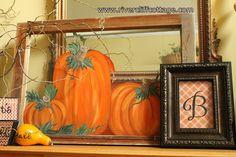 Pumpkin Painted on Glass